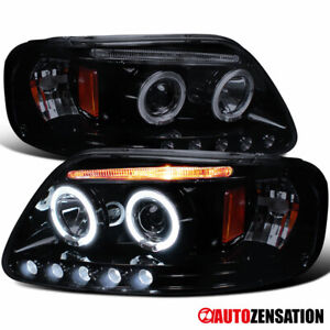 For 1997 2003 Ford F150 Glossy Black Smoke Dual Halo Rims Projector Headlights