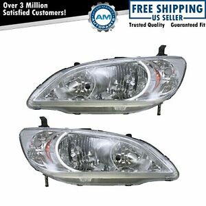 Front Headlights Headlamps Lights Lamps Lh Rh Pair Set For 04 05 Honda Civic