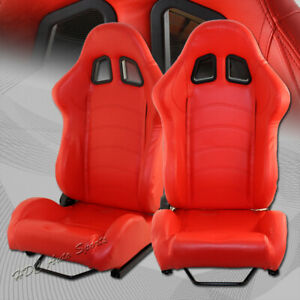Type 1 Red Pvc Leather Red Stitching Reclining Racing Seats Sliders Universal 1