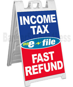 Signicade A frame Sign Sidewalk Pavement Sign Income Tax E file Fast Refund