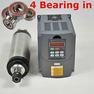 3kw Water cooled Spindle Motor 3kw Matching Inverter Four Bearing 24000rpm Ce