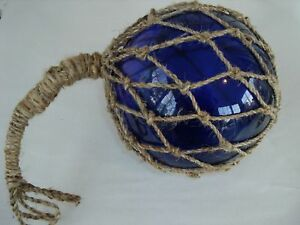 8 Blue Glass Fishing Float Fish Net Buoy Nautical Decor Luau