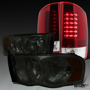 2002 2005 Dodge Ram 1500 2500 3500 Smoke Tint Headlights red Led Tail Lamps Pair