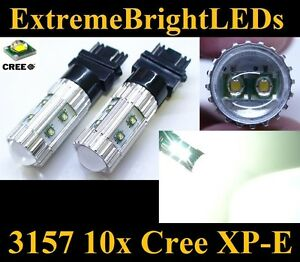 Two Xenon Hid White 50w High Power 3156 3157 10x Cree Xp e Backup Lights 86b