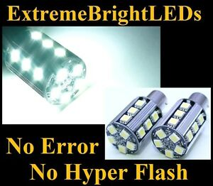 Two Hid White No Resistor Required 1157 2357 20 smd Led Front Turn Signal Lights