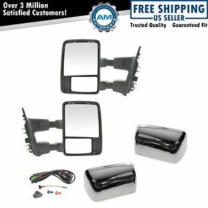 Power Heat Fold Smoked Turn Chrome Cap Upgrade Towing Mirror Pair For Super Duty