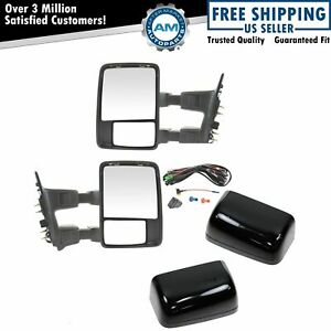 Power Heat Folding Smoked Turn Upgrade Towing Mirror Pair For Super Duty
