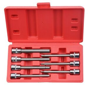 Goplus 7pcs 3 8 Metric Extra Long Hex Allen Bit Socket Set With Case New