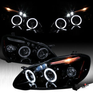 For Toyota 2003 2008 Corolla Black Smoke Led Drl Halo Projector Headlights Pair