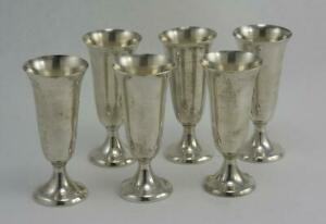 Vintage Set Of 6 Sterling Silver Cordials By Gorham Pattern 951