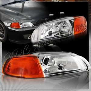 For 1992 1995 Honda Civic Hatchback Coupe Chrome Headlights W amber Reflector
