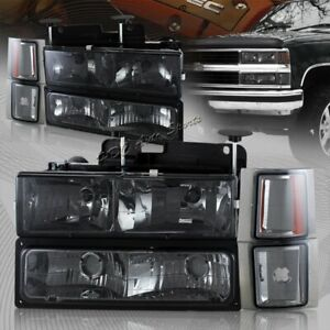 For 1994 1998 Chevy Silverado C10 Smoke Lens Headlights Bumper Corner Lamps 8pcs