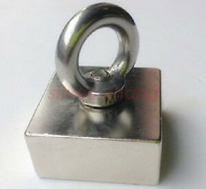 50x50x25mm N50 Large Square Block Neodymium Magnets Lifting 10mm Hole With Hook