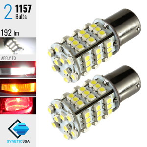 2x 1157 2057 192lm Xenon 6000k White 54 Smd Chip Led Turn Signal Light Bulbs
