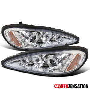 For 1999 2005 Pontiac Grand Am Clear Led Halo Rims Projector Headlights Lamps