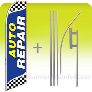 Auto Repair Swooper Flag Kit Feather Flutter Banner Sign 15 Set Checkered Bb