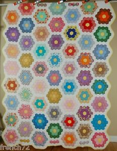 Classic Vintage 40 S Grandmonther S Flower Garden Antique Patchwork Quilt