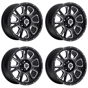 Set 4 17 Vision 399 Fury Black Milled Wheels 17x8 5 6x5 5 Chevy Tahoe Gmc 6 Lug