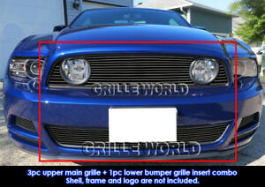 Fits 2013 2014 Ford Mustang Gt Black Billet Grill Insert Combo