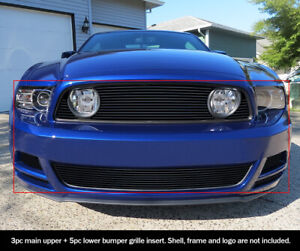 Fits 2013 2014 Ford Mustang Gt W Fog Cover Black Billet Grill Insert Combo