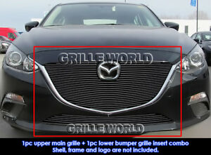Fits 2014 2015 Mazda 3 Bolt Over Black Billet Grill Insert Combo