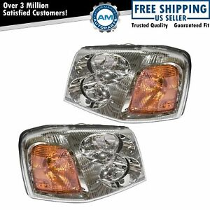 Headlights Headlamps Left Right Pair Set New For Gmc Envoy