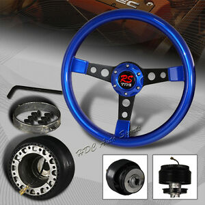 350mm 6 Bolt Hole Blue Wood Black Spoke Steering Wheel For Acura Honda Hub
