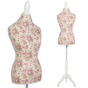 Female Mannequin Torso Dress Form Display W White Tripod Stand Floral Pattern