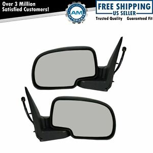 Side View Mirrors Power Heated Smooth Black W Puddle Lh Rh Pair For Chevy Gmc