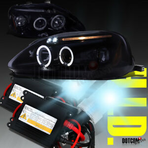 Glossy Black 1999 2000 Fit Honda Civic Led Halo Projector Headlights hid Kit H1