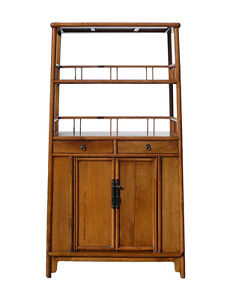 Chinese Light Wood Bookcase Display Storage Cabinet Cs1186