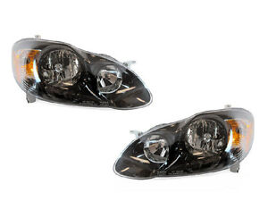 Depo Dot sae Euro Style Black Housing Headlights For 2003 2007 Toyota Corolla