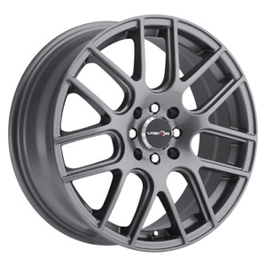 Set 4 14x5 5 38 4x100 114 3 Vision Cross Gun Metal Wheels Rims 14 In
