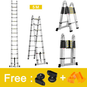 16 4ft Aluminum Telescopic Telescoping Loft Extension Multipurpose Step Ladders