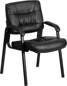 Lot Of 15 Black Leather Guest Office Desk Side Chairs