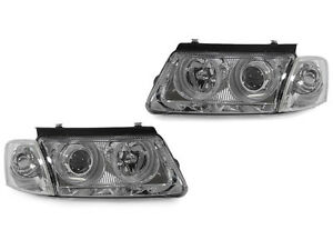 Chrome Projector Halo Headlight Clear Corner Lights For 1998 2000 Vw Passat B5