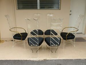 6 Mod 70 S High Style Lucite Dining Chairs 2 With Brass Arms P
