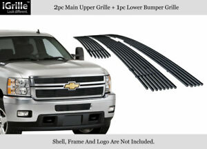 Fits 2011 2014 Chevy Silverado 2500 3500 Hd Stainless Black Billet Grille Combo