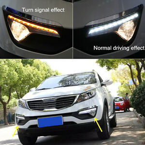 2x White Yellow Led Drl Daytime Running Lights For Kia Sportage R 2011 2012 2013