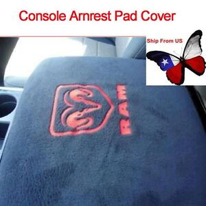 Black Center Armrest Console Cover Embroidered For Dodge Ram 1500 5500 Truck