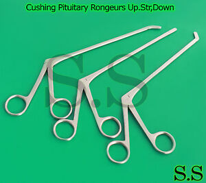 3 Pcs Cushing Pituitary Rongeurs 8 2x10mm Cup up str down Ent Surgical