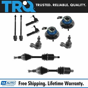 Front Steering Suspension Kit Set Of 10 Axles Tie Rods Ball Joints Hubs For Gm