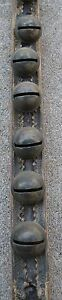 Antique Leather Strap Of 12 Brass Sleigh Bells Mounted