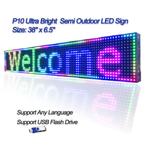 38 x 6 5 Rgb 1 4 Duty P10 Led Sign Programmable Scrolling Message Display