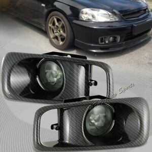 For 1999 2000 Honda Civic Smoke Lens Fog Driving Lights Lamp W carbon Look Cover