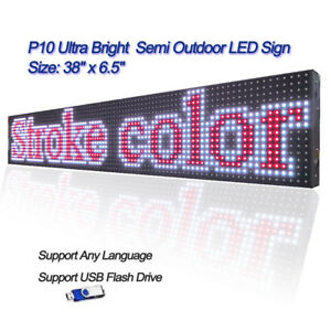 38 x 6 5 Full Color Semi Outdoor Led Sign Programmable Scrolling Message Board