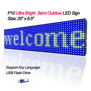 25 x 6 5 Full Color Semi Outdoor Led Sign Programmable Scrolling Message Board
