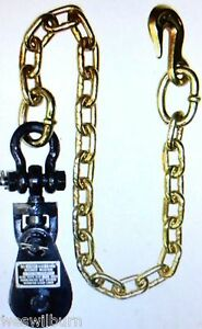 2 Ton Snatch Block W Chain Flatbed Tow Truck Rollback Wrecker Car Carrier Cable