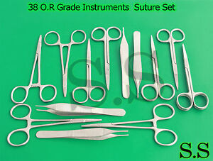 38 O r Grade Instruments Suture Set Kit Scissors Forceps dn 917