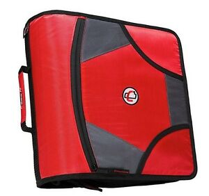 New Case it Xl 3 Ring D ring 4 Inch Zipper Binder With 5 tab File Folder Red